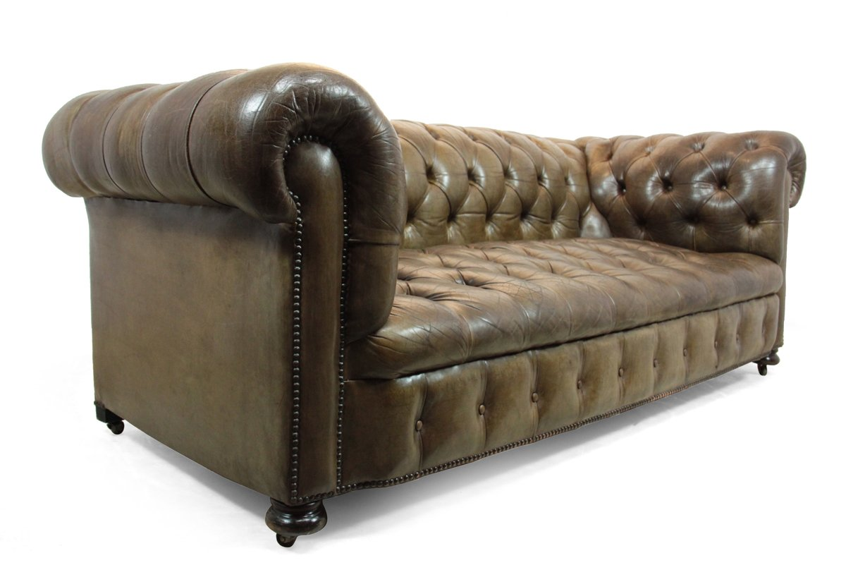 leather chesterfield sofa for sale fabric seats button seat 1950s at