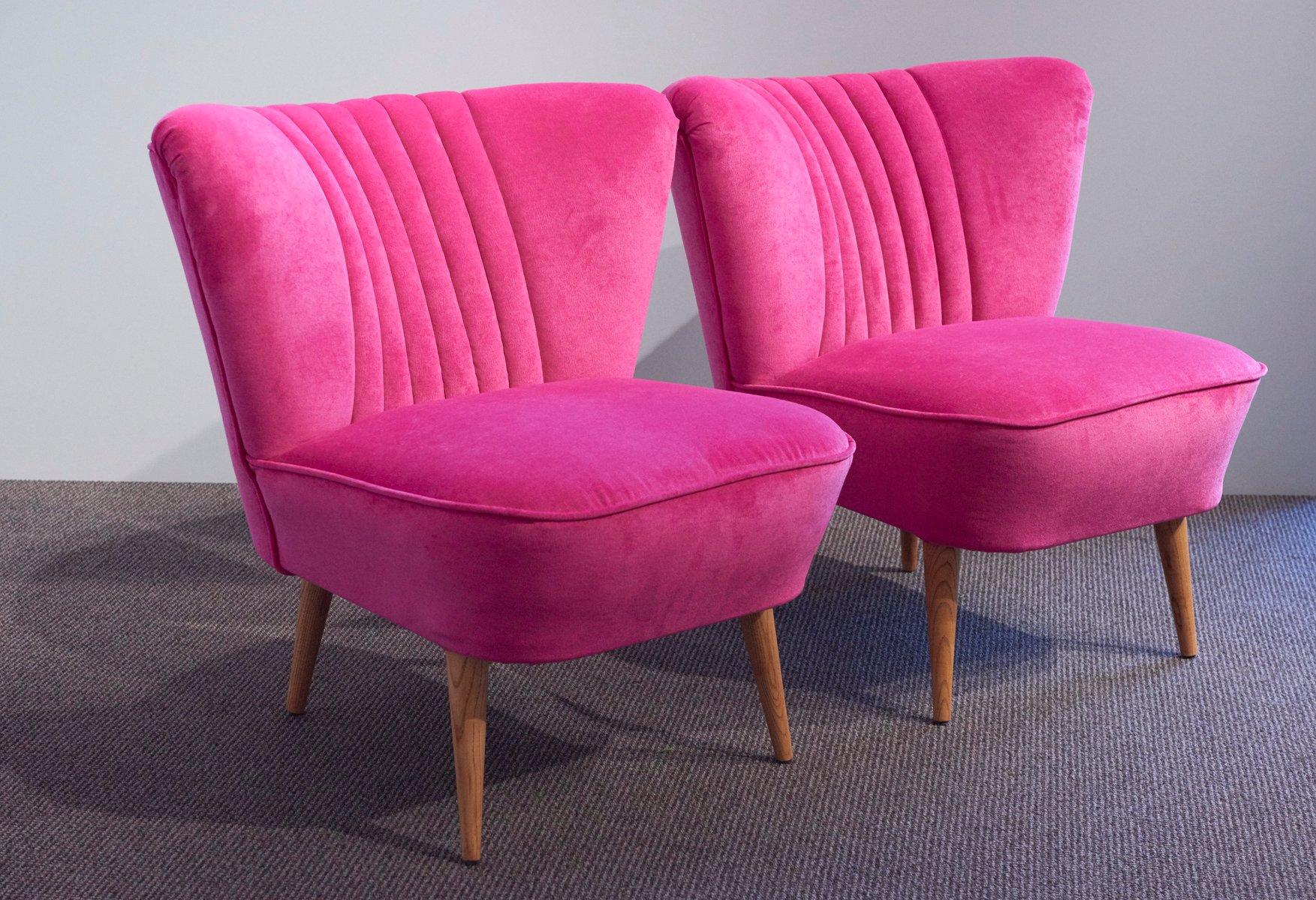 velvet armchair pink folding chair rack diy german shell back cocktail chairs 1950s set