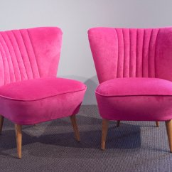 Velvet Armchair Pink Spa Pedicure Chairs German Shell Back Cocktail 1950s Set