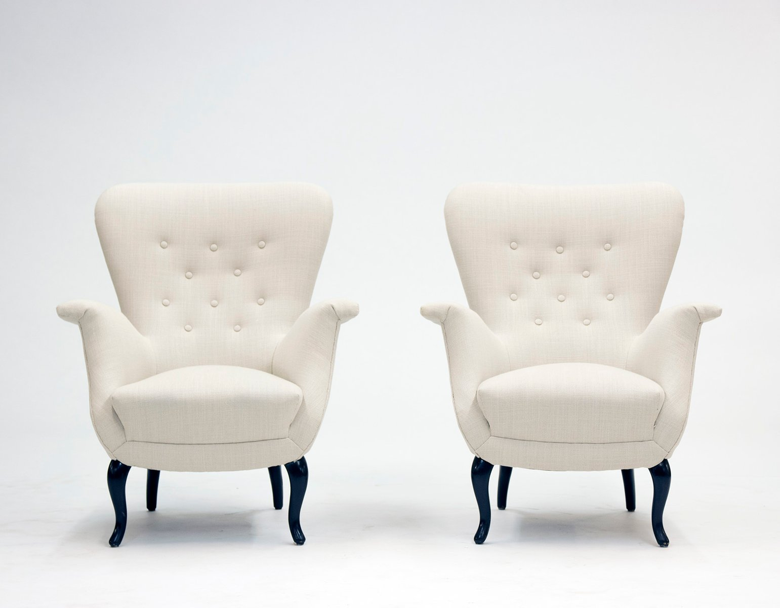 White Lounge Chairs White Lounge Chairs From S M Wincrantz 1950s Set Of 2