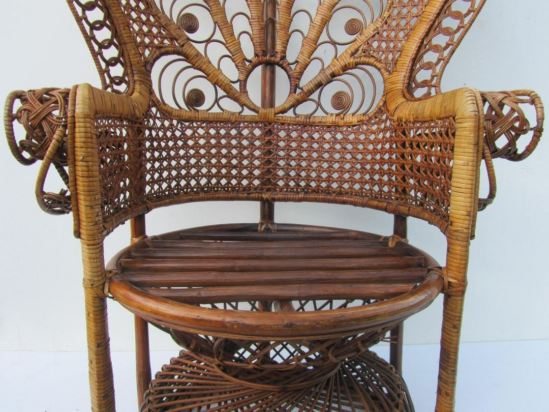 old wicker chairs uk swing chair modern vintage rattan peacock 1960s for sale at pamono