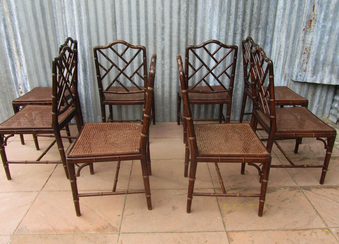 set of 8 dining chairs throne for rent mid century faux bamboo sale