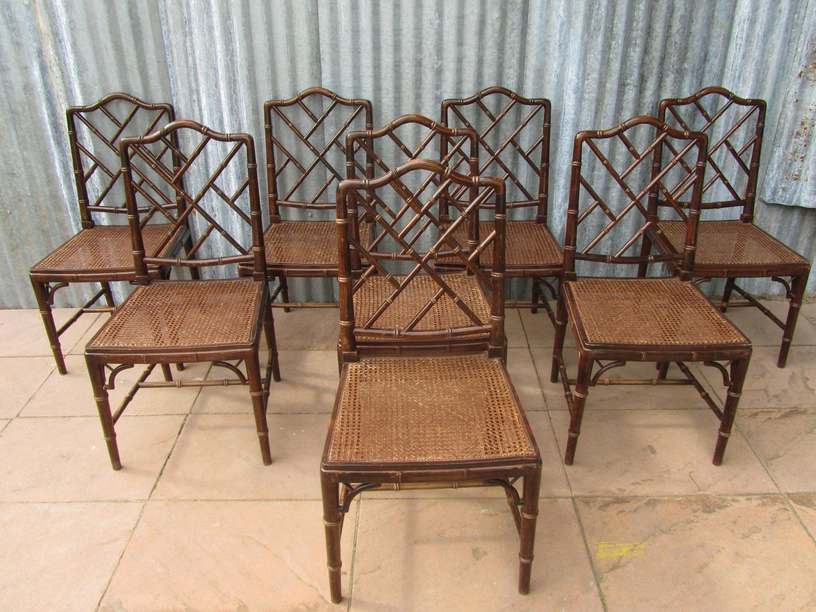 Bamboo Dining Chair Mid Century Faux Bamboo Dining Chairs Set Of 8 For Sale