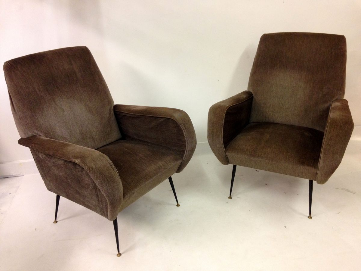 chair steel legs and a half with sleeper brown italian club 1960s for sale
