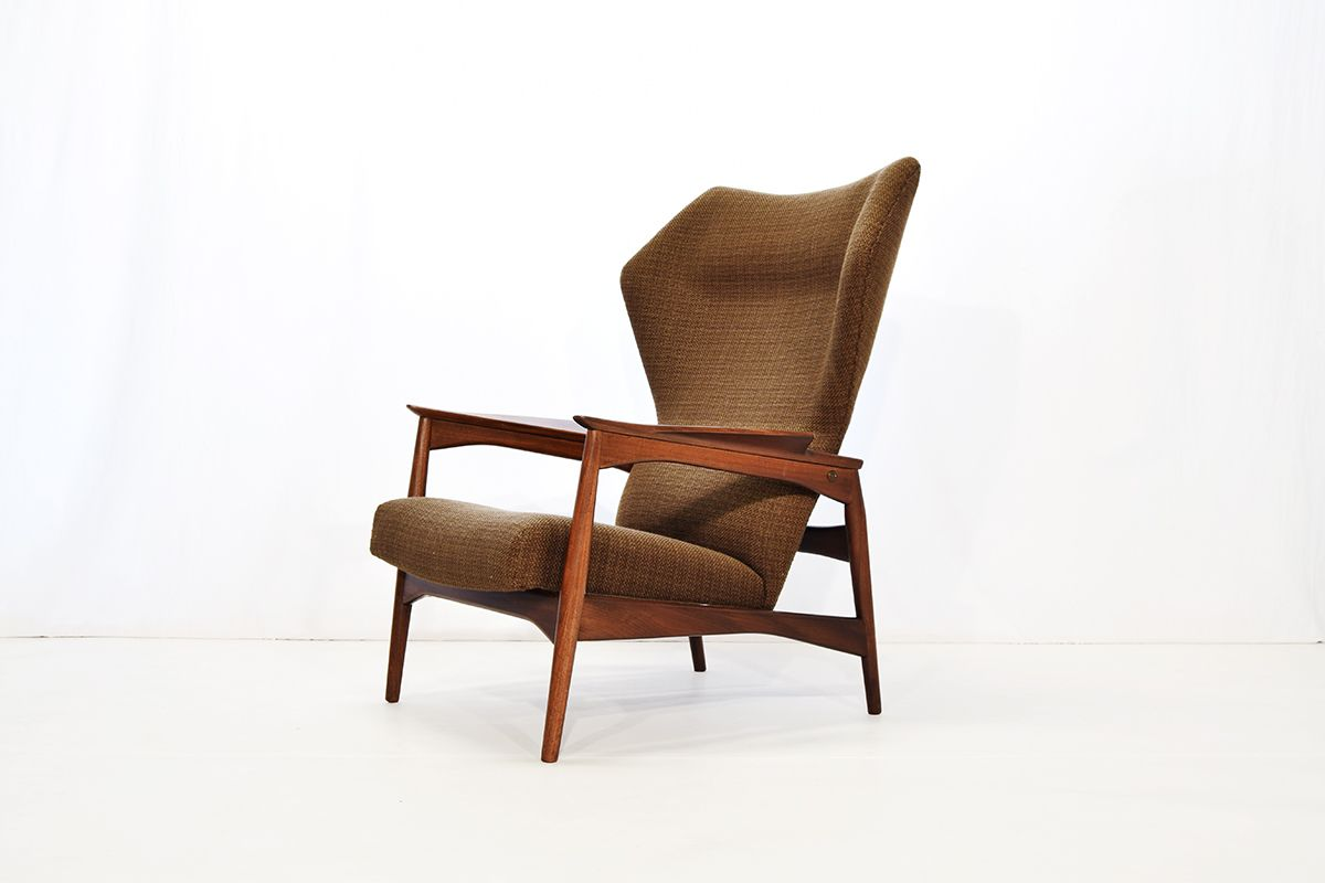 reclining wingback chair corner chairs for sale lounge by ib kofod larsen
