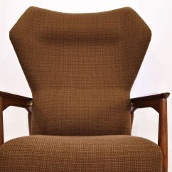 Reclining Wingback Chair Upholstered Kitchen Chairs With Casters Lounge By Ib Kofod Larsen For
