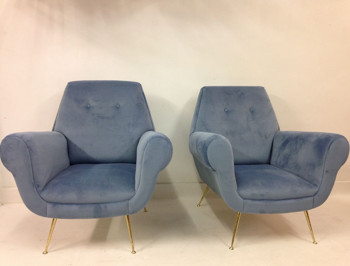 Velvet Club Chair Italian Mid Century Blue Velvet Club Chairs Set Of 2 For