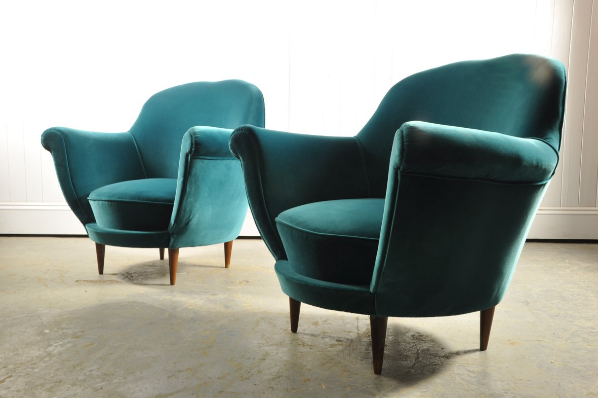 Velvet Club Chair Italian Turquoise Velvet Club Chairs 1950s Set Of 2 For
