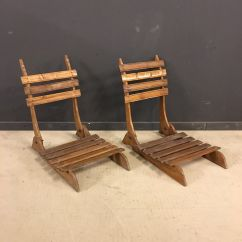 Antique Beach Chair Captain Chairs For Pontoon Boats French Oak Foldable Set Of 2