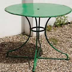 Green Metal Bistro Chairs Black Vanity Chair Vintage French Round Garden Table For Sale At