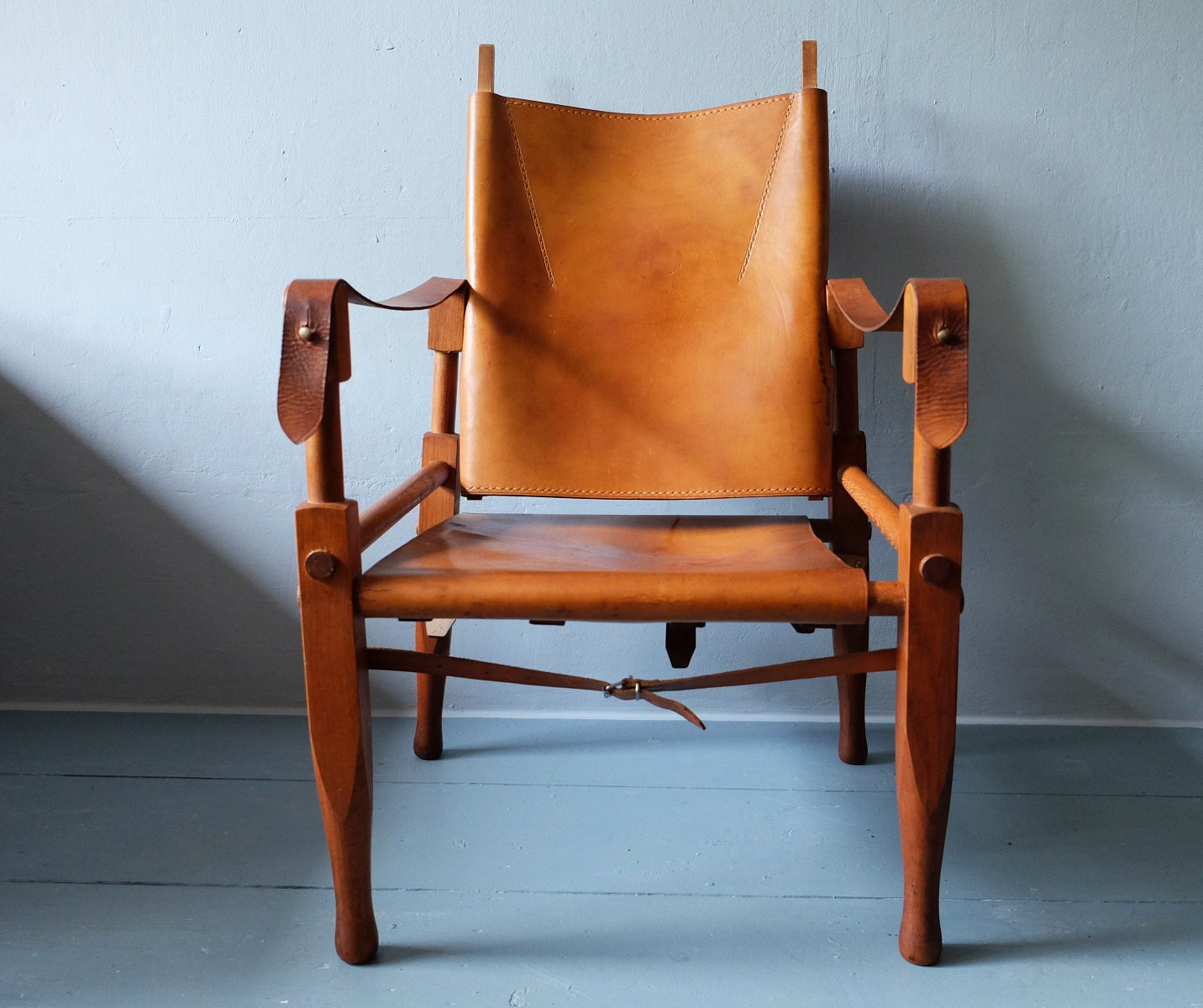 leather safari chair office support for upper back pain and ash by wilhelm kienzle 1950s