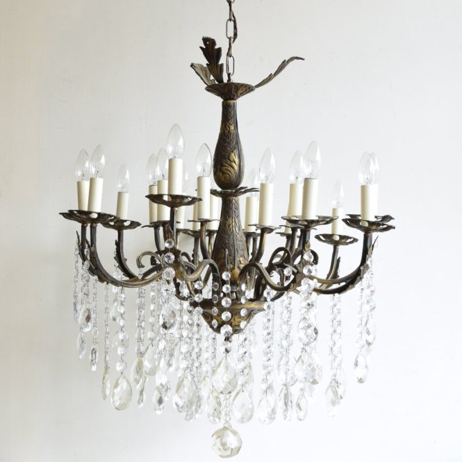 Large Vintage French 16 Light Brass Chandelier