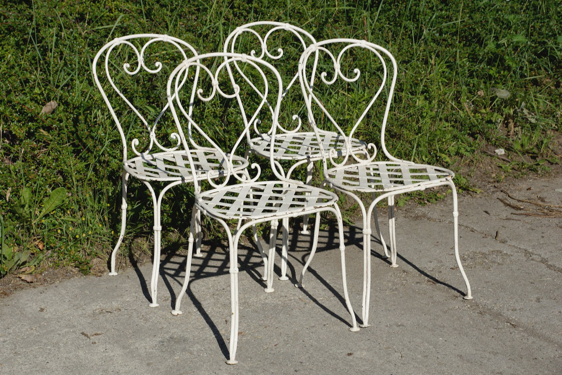 iron outdoor chairs black plastic folding french wrought garden 1860s set of 4 for