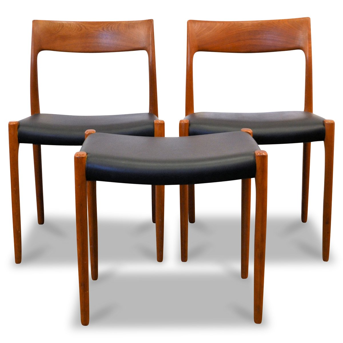 chair and matching stool wingback rocking danish teak dining chairs by niels o