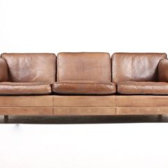 Brown Leather Sofa Color Restoration Living Room Arrangements With Sectional Danish Three Seater 1980s For Sale At