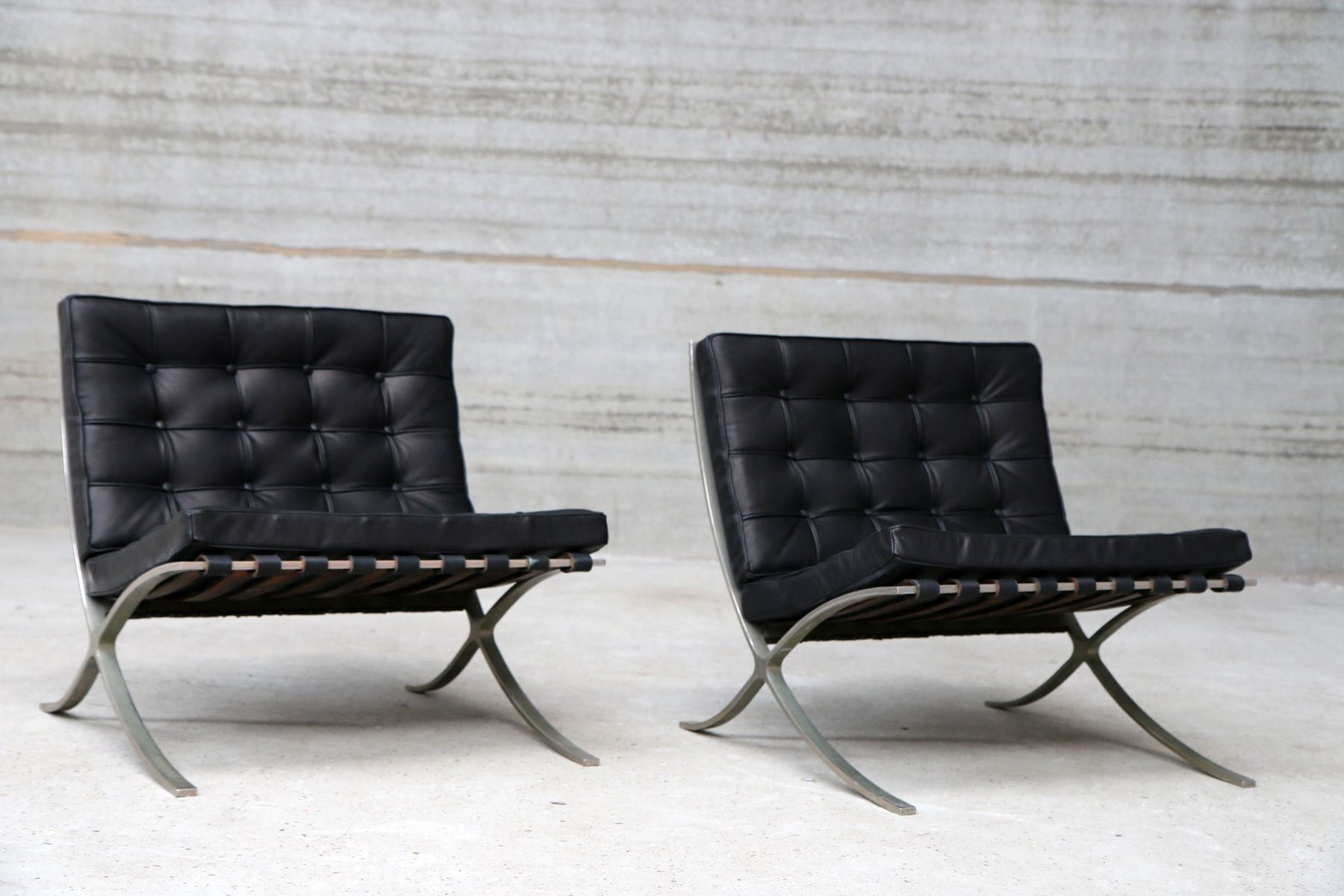 mies van der rohe barcelona chair gaming x rocker vintage chairs by ludwig for knoll, set of 2 sale at pamono