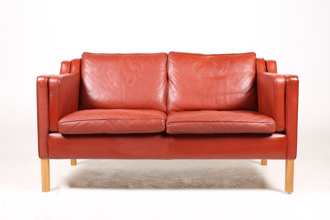 red leather two seater sofa deep seattle from stouby 1990s for sale at