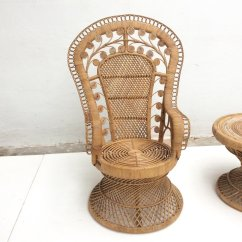 Old Wicker Chairs Uk Plastic Seat Covers Dining Room Vintage Indonesian Rattan Peacock Chair And Table 1970s