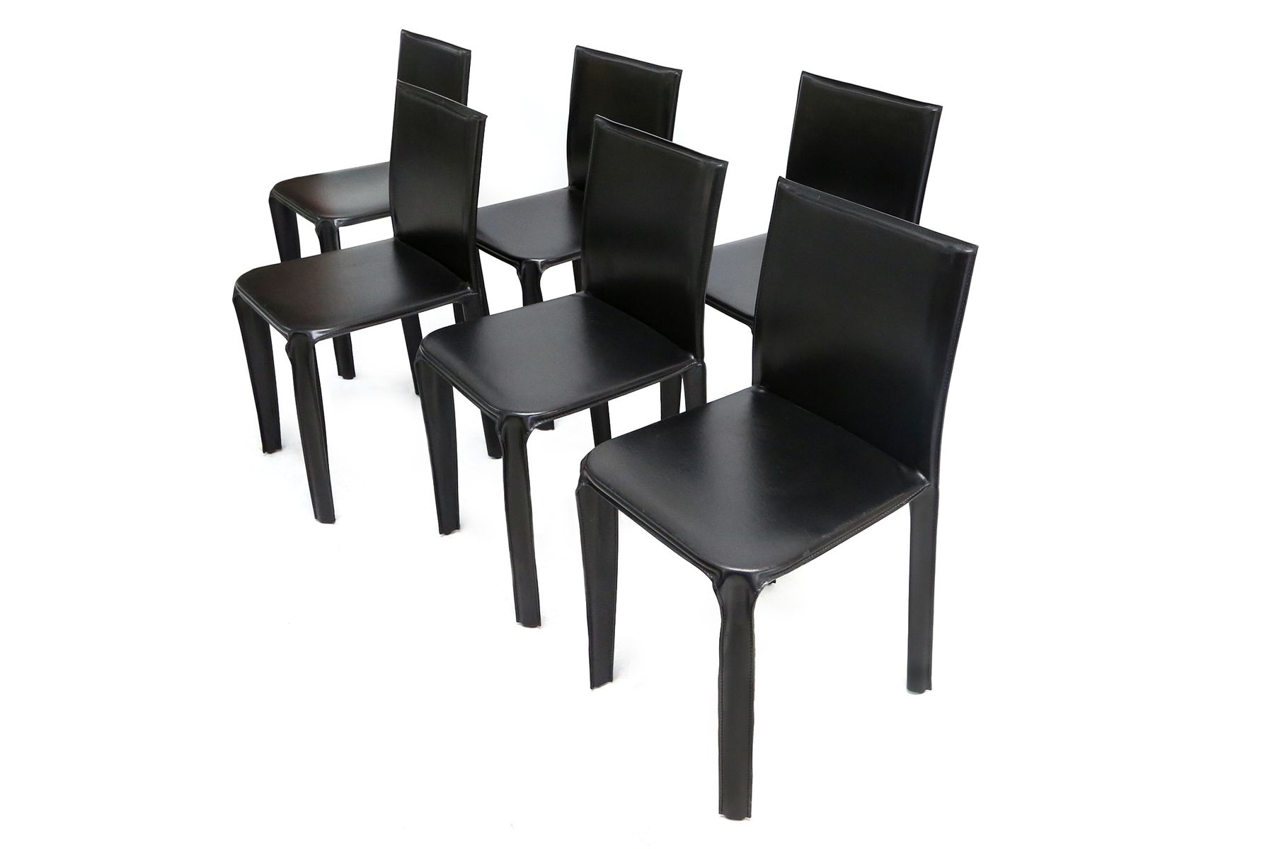 black leather chair dining accent chairs on clearance from arper 1970s set of 6