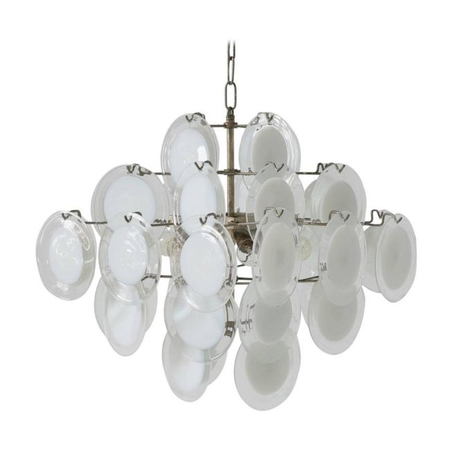 Italian Murano White And Clear Glass Chandelier From Vistosi 1970s