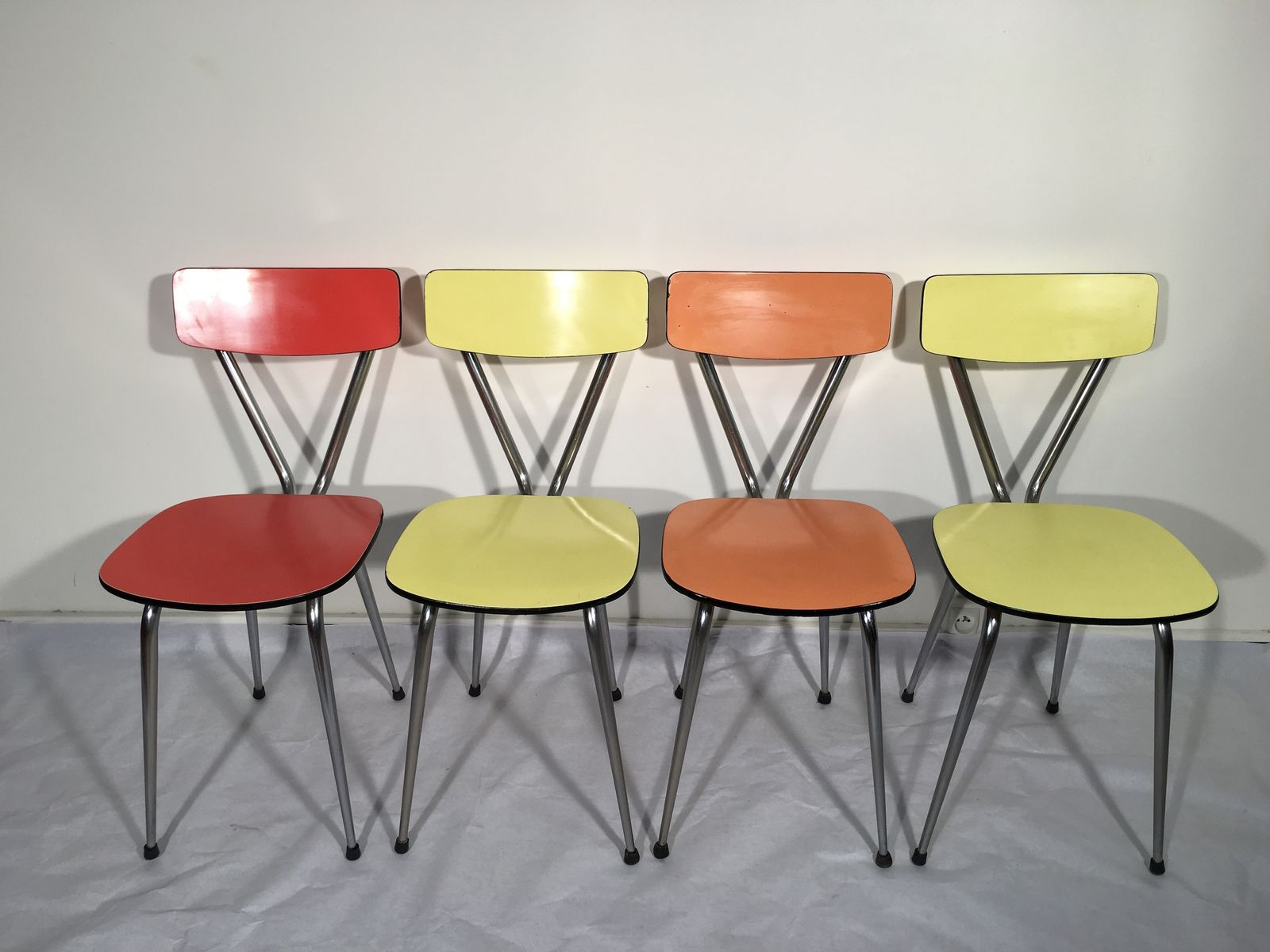 orange dining chairs uk farm style table and vintage red yellow set of 4 for