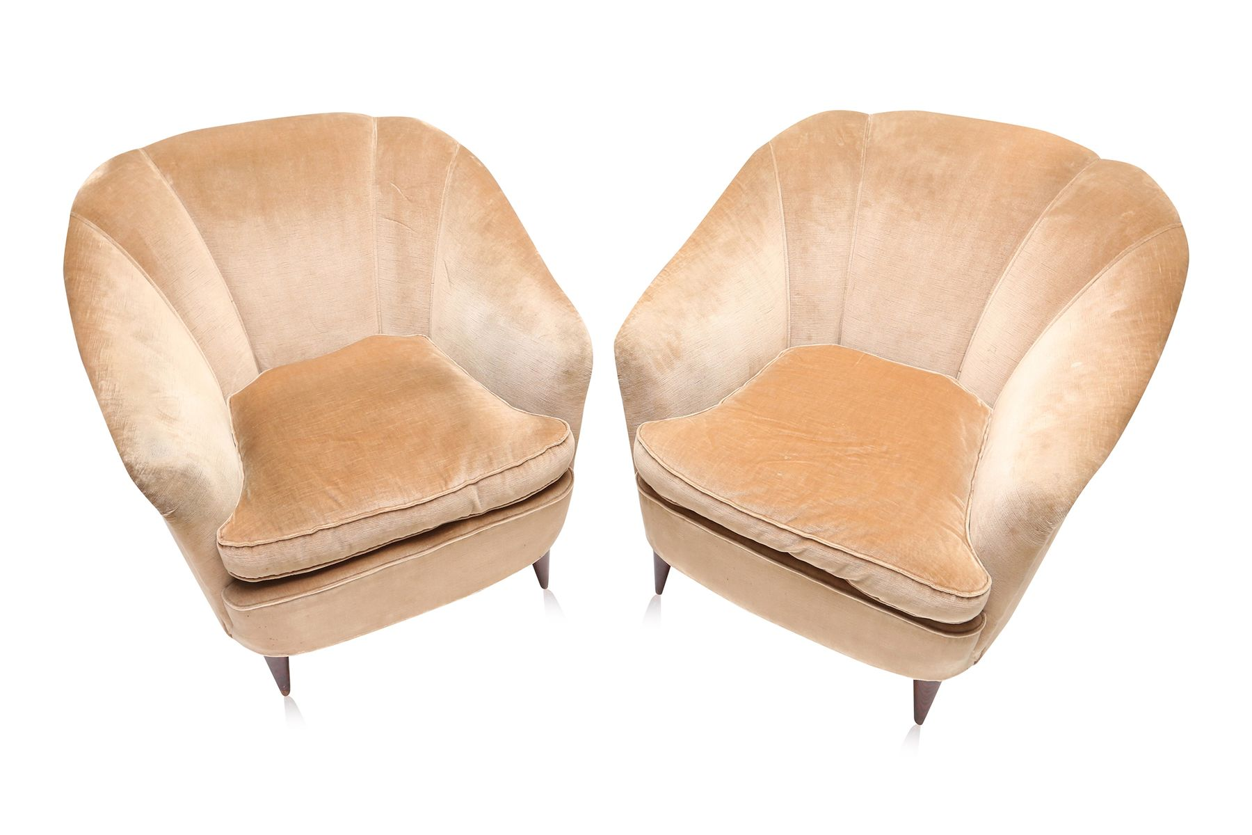 Gold Velvet Chair Art Deco Light Gold Velvet Club Chairs 1940s Set Of 2