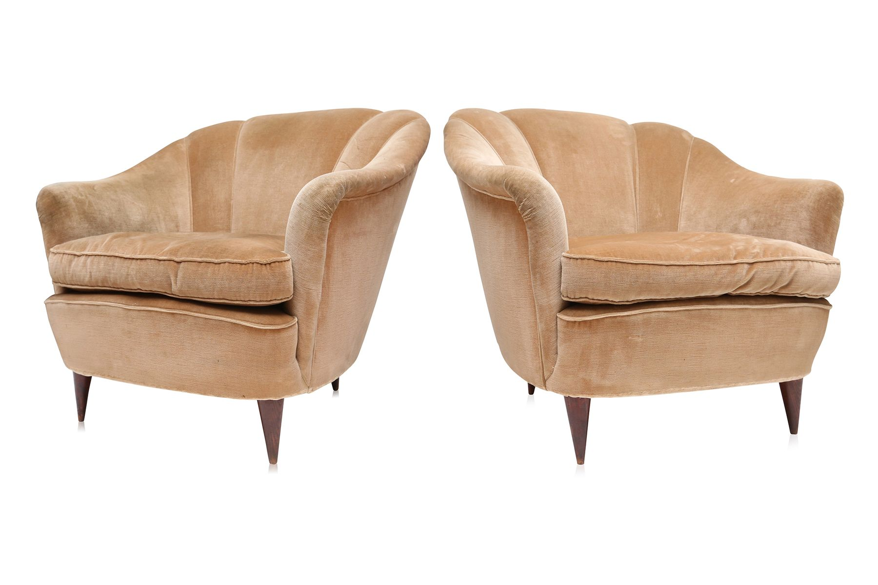 gold velvet chair high back mesh with headrest art deco light club chairs 1940s set of 2