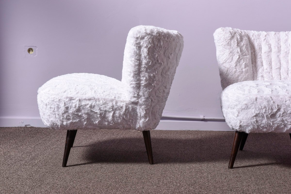 Fur Desk Chair Mid Century Faux Fur Cocktail Chairs Set Of 2 For Sale At