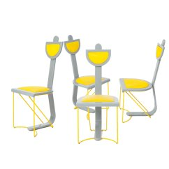 Yellow And Grey Chair Small Accent Chairs With Wood Arms Set Of 4 For Sale At Pamono