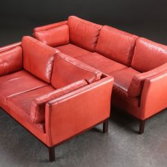 Red Leather Sofa Sets On Sale Sleeper Pittsburgh Danish Sofas 1980s Set Of 2 For At Pamono