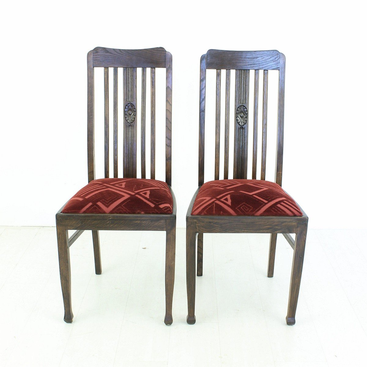 vintage oak dining chairs folding padded seat and back 1920s set of 2 for sale at pamono