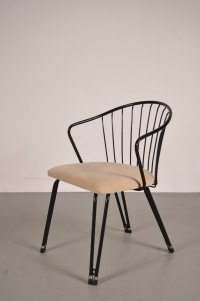 Black Metal Dining Chairs, 1950s, Set of 4 for sale at Pamono
