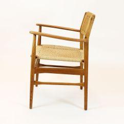 Mid Century Danish Chair Green Papasan Oak 1960s For Sale At Pamono