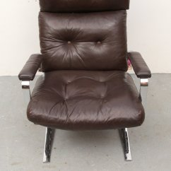 Steel Lounge Chair Pads Target Flat And Leather 1970s For Sale At Pamono