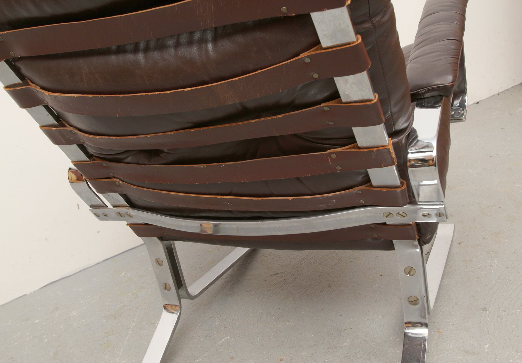 steel lounge chair outdoor recliner chairs uk flat and leather 1970s for sale at pamono
