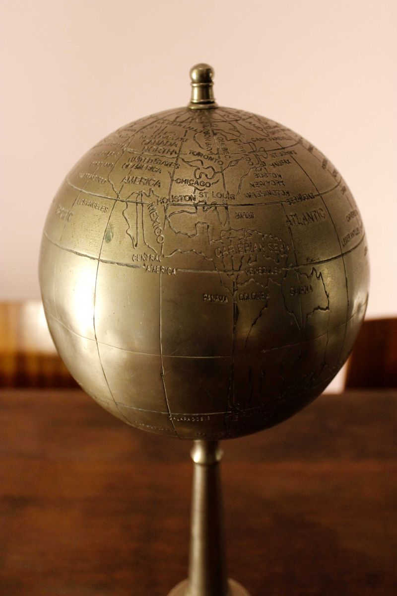 Vintage Metal Globe with Stand for sale at Pamono