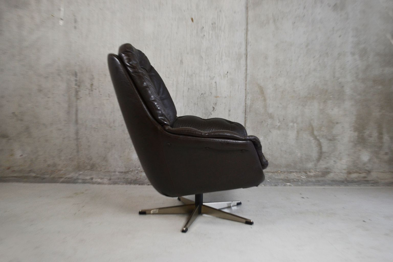 black leather swivel lounge chair wood rocking danish 1970s for sale