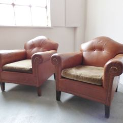 Tan Leather Chair Sale Armless Slipcover Vintage Club For At Pamono