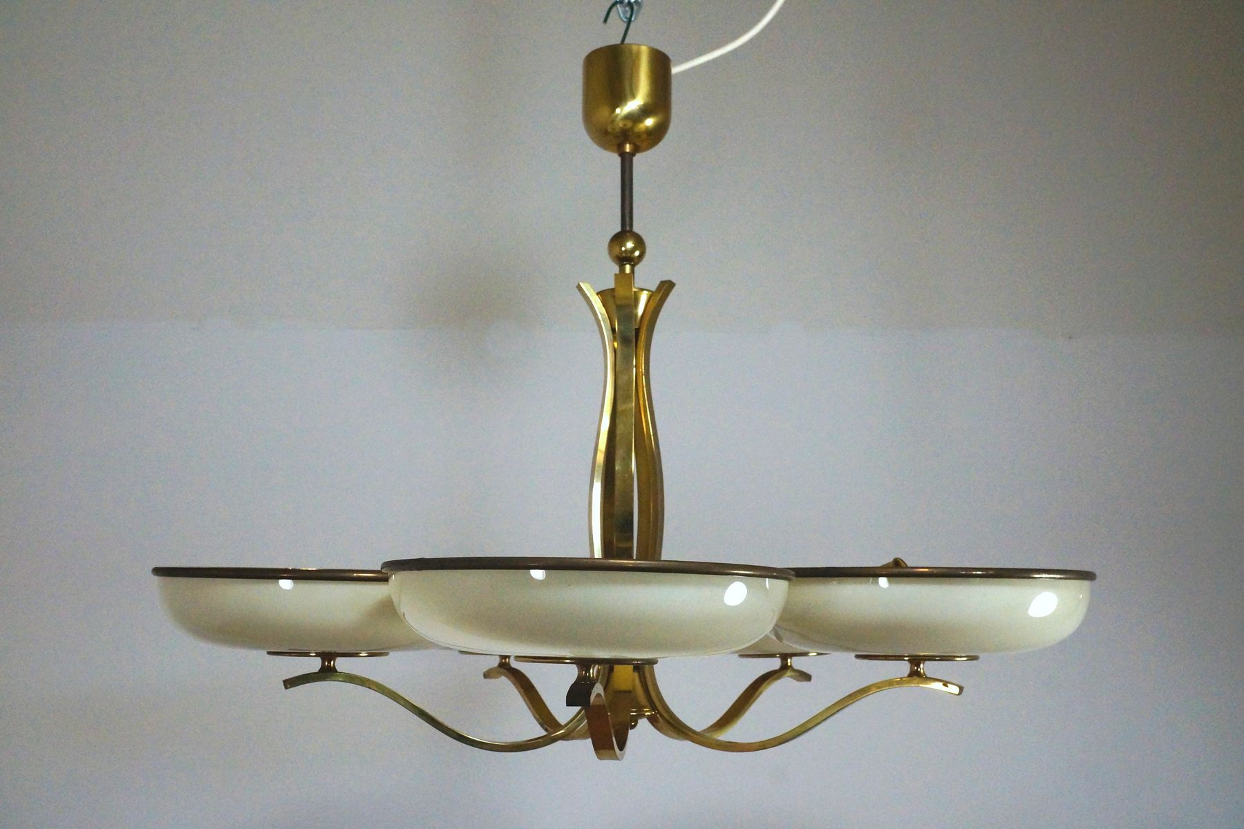 hanging chair qatar leather chairs for sale glass and brass lamp 1940s at pamono