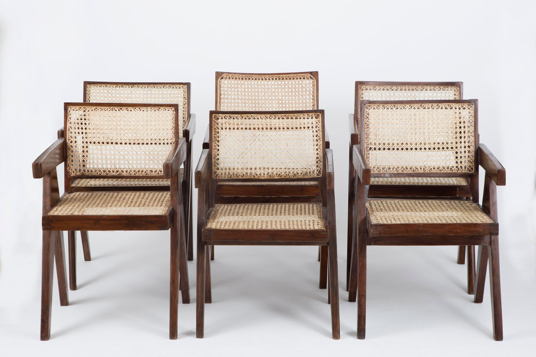 how do you cane a chair wooden accessories office chairs by pierre jeanneret set of 6 for sale