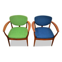 Blue Green Chair Cover Hire Townsville Danish And Teak Lounge Chairs Set Of 2 En Vente