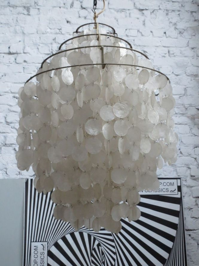 Fun 0dm Mother Of Pearl Chandelier By Verner Panton For J Luber Ag 1960s At Pamono