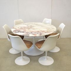 Tulip Dining Room Chairs Foam Sofa Chair Marble Table And 6 By Eero Saarinen For