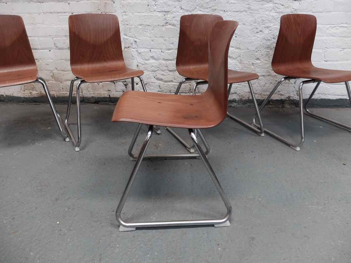 stackable metal chairs modern grey leather dining thur op seat with frame by pagholz