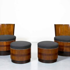 French Barrel Chair Camping Table Chairs Vintage Art Deco With Footstools Set