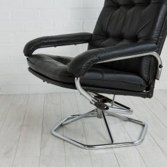 Black Leather Swivel Lounge Chair Painted Wooden Kitchen Chairs In 1970s For Sale At Pamono