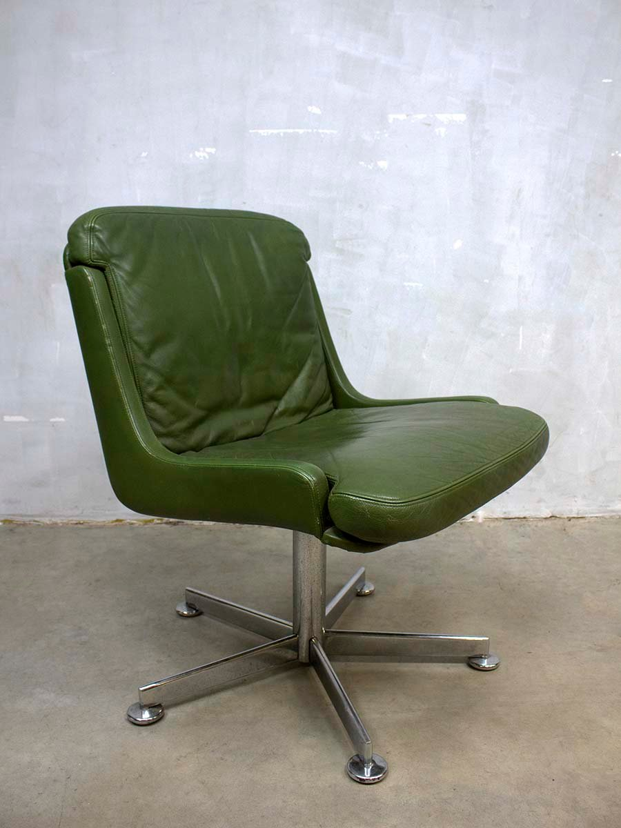 Vintage Office Chair with Olive Green Leather for sale at