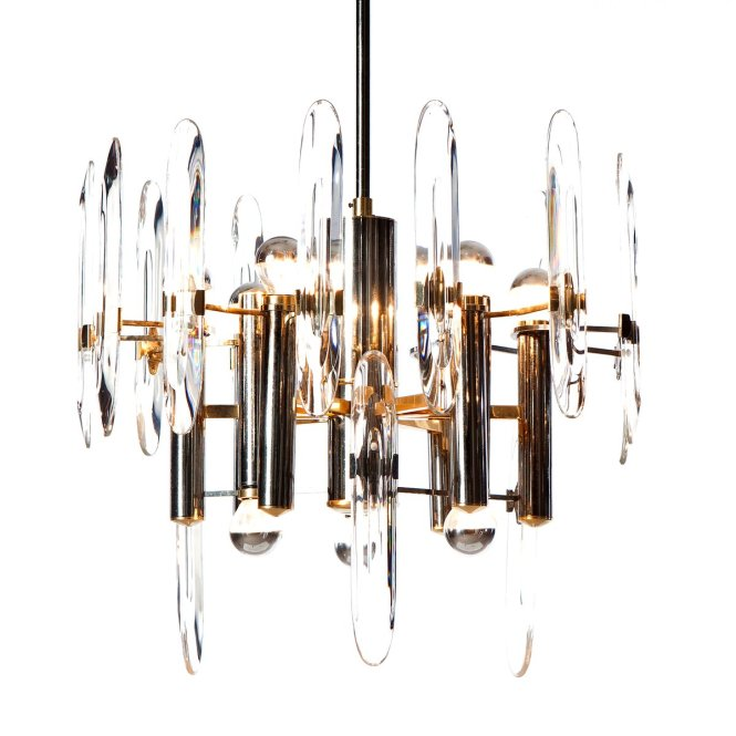Nine Light Chandelier In Chrome Brass And Crystal Glass By Gaetano Sciolari 1960s For At Pamono