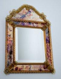 Decorative Venetian Glass Mirror, 1970s for sale at Pamono