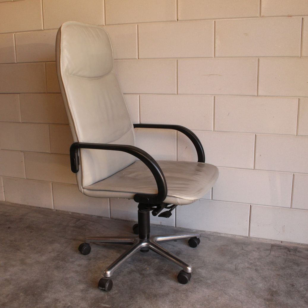 grey leather desk chair small lounge chairs office from fröscher 1988 for sale at